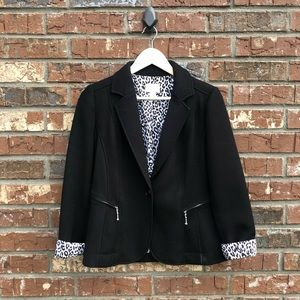 Chico's Black Leopard Lined Knit Blazer